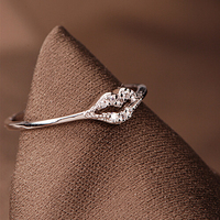 Cute lip joint crystal female 18k white gold-plated fairy tail ring