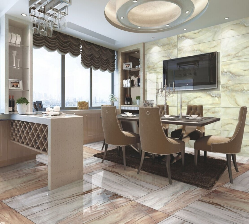 450x900 living room porcelain tile 3d flooring glazed for Living room 3d tiles