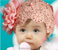 New Fashion Lace net Baby Headband with Big Flower Baby CAP with Pearls For Baby Hair Accessories