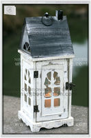 Wholesale House shaped Wood Lantern for Candle, Hand-held Wood Candle Lantern for sale