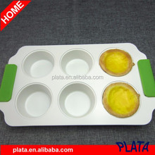 "12""x7"", 6 Cup Ceramic Coating Muffin Pan with Silicone Handle"