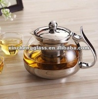 800ml good quality pyrex glass hot coffee pot with stainless steel handle,lid,strainer