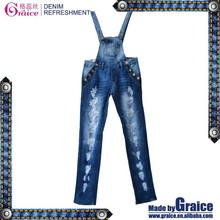 2015 new style damage skinny design women jeans jeans suspender trousers