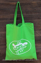 blank green cotton tote shopping bags
