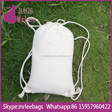 Custom high quality drawstring canvas backpack kid bag pouches with custom printing