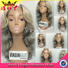 100% human virgin unprocess indian remy gray hair full lace wig