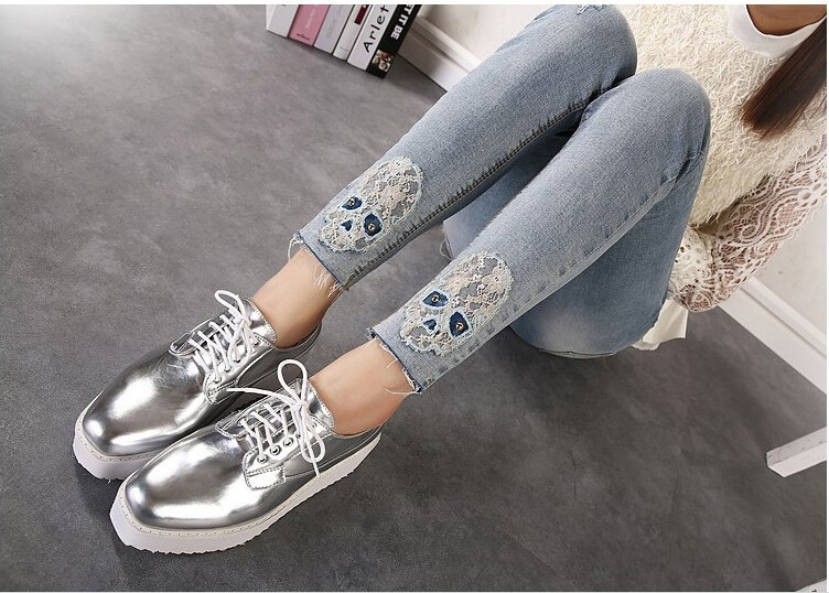 New 2016 vintage silver oxford shoes for women zapatos oxford mujer scarpe donna women shoes