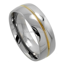 8mm Dome Titanium Wedding Band Grooved Gold Center High Polished finish Ring Comfort Fit
