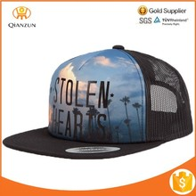front logo printing 5 panel polyester foam mesh trucker hats