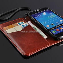 Brown Flip Case With Card Holder for Samsung Galaxy S4 Mini i9190