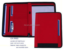 BLACK SMOOTH PU AND RED 600d NYLON2015 new desing business leather portfolio with zipper closure
