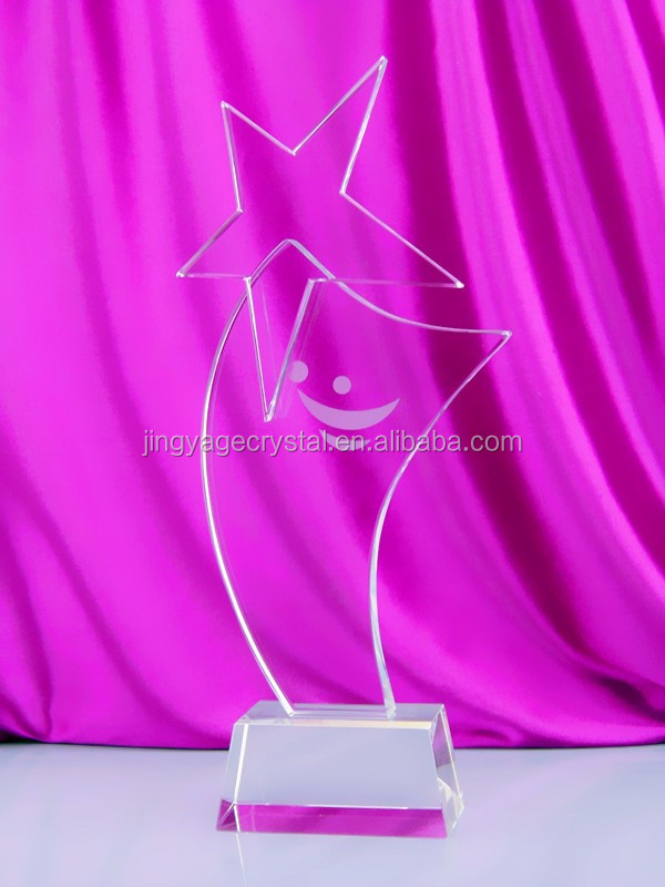 NEW product custom made high quality crystal star plate award crystal star trophy
