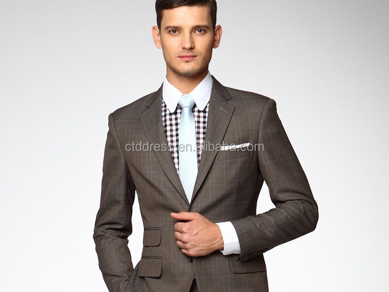 Custom made ctddress marque formelle. prix usine plaid brown 2 pièce costumes pour hommes
