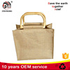 Customized logo reusable wooden handle jute tote shopping bag for Europe shopping