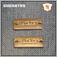 custom brand logo plate/label/patch metal accessories for bags/clothing/caps