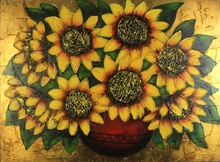 Wall art gold leaf sunflower heavy texutre canvas painting