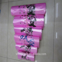 Pink plastic vest shopping bags on roll with OK printing, pink printed t shirt shopping bag