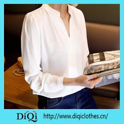 2015 fall womens blouse ladies elegant v-neck blouses long sleeve chiffon shirt women office shirt