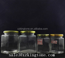 Hexagon Honey Glass Jar/ honey Jar/ cylinder honey jar