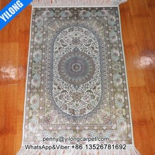 2x3ft Double knots silk rug nain handmade carpet