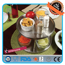 cake fruit display tray stainless steel lazy susan turntable