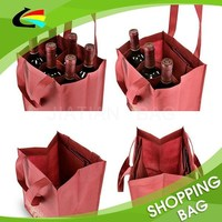 Reusable 100gsm Non Woven 6 Bottle Wine Bag for Promotion