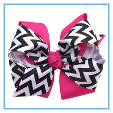 Hot new products for 2016 wavy printed ribbon hair bows for kids