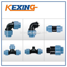 PP Compression Fittings PN 16 blue nuts high quality, Pipe factory, coupling, fittings, valve, mould, elbow, male, female thread