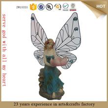 custom Lotus Flower girl resin cemetery angel statue