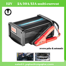 cheap portable pulse 2A/10A/15A 12v car charger for scooter battery with vibration/display