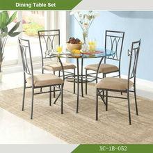 Muebles de Comedor - Juego de comedor Vidrio /metal 5 puestos XC-1B-052
