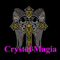 USA Gold cross crystal wings hotfix transfer for T Shirt