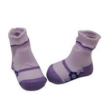 BSP-197 Chinese Wholesale Baby Cotton Pink Socks Like Shoes with Picot and Flower