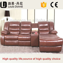 Custom Made Wood Frame Brown American Style Leather Sofa