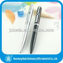 2013 huashilai marca de cristal nuevo clip en twist pluma de diamante para negocios de color personalizado y el logotipo