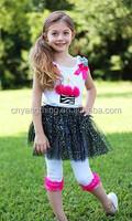 Cheetah Heart Tank & Pants Sets Zebra Ruffle Shirt & Pants Sets 100% cotton girls wholesale boutique clothing
