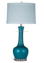 turquoise ceramic desk lamp with subtle crackle glaze finish acrylic base, pale blue banded drum shade and crystal ball finial