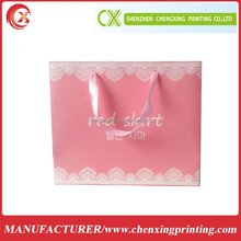 Custom Printed Pink Color Art Paper Packaging Bag with Pink Handle for Shopping/Gift