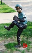 Bronze child garden sculpture playing outdoor decoration