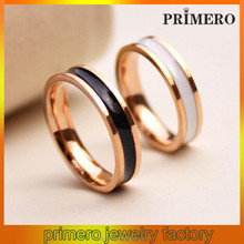 PRIMERO Latest gold plated jewelry stainless steel couple finger rings titanium steel simple style designs gold ring