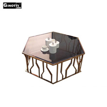 Golden color stainless steel coffee table