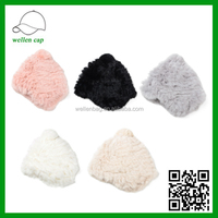 The new high-end ladies temperament rabbit warm wool knit cap