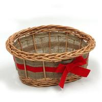 Red Ribbon Empty Wicker Gift Basket