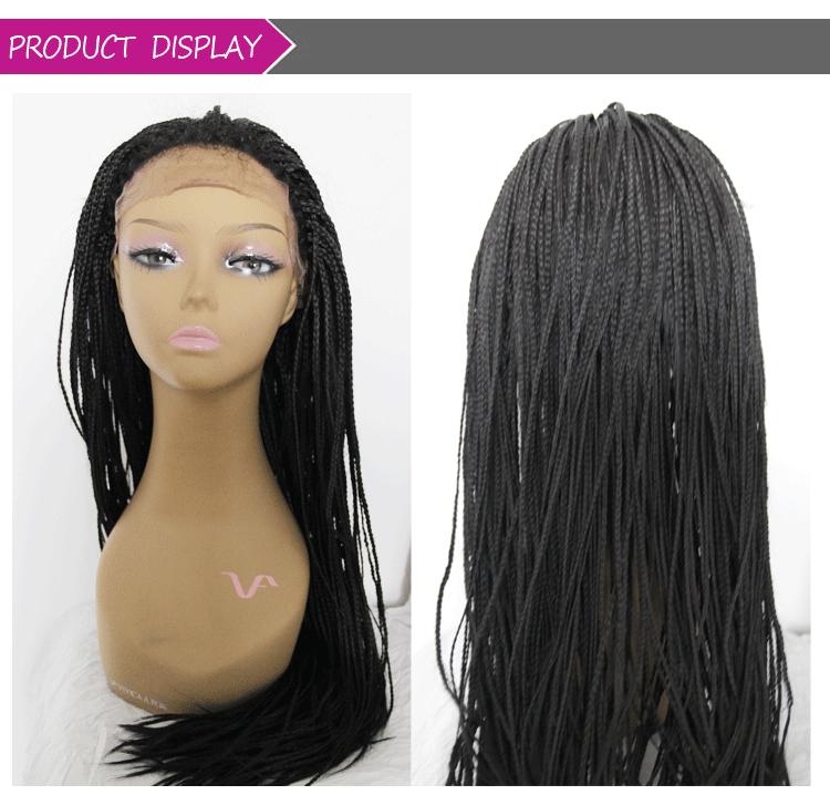 Mão-amarrado 350 micro trançado cabelo 24 polegadas dianteira do laço perucas baratas perucas Africano Americano trançado