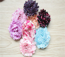 Hot muti dots Shabby Fabric Flowers Accessories for DIY Hair and Garment Decoration