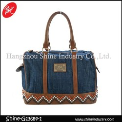 famous luxury brand women hangbag/denim studded duffel bag/beads ladies bag