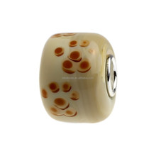 Wholesale Brown Naughty Puppy Dog Paw Print Murano Glass Bead with 925 Sterling Silver Tube For European Bracelets