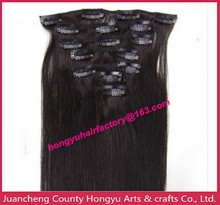 clips set in human hair extensions/dark color,many colors you can choose them