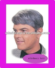 free style remy human hair men's toupee with color1b 80% gray hair straight