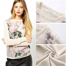 2014 mujeres de flores sueltas de impresión floral sweater, diseñador de moda de manga larga jersey de punto 6664